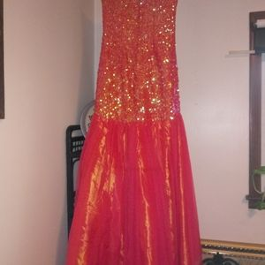 Dresses - Masquerade Mermaid orange sequins prom dress